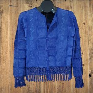 IDI Blue Leather Suede Crochet Jacket
